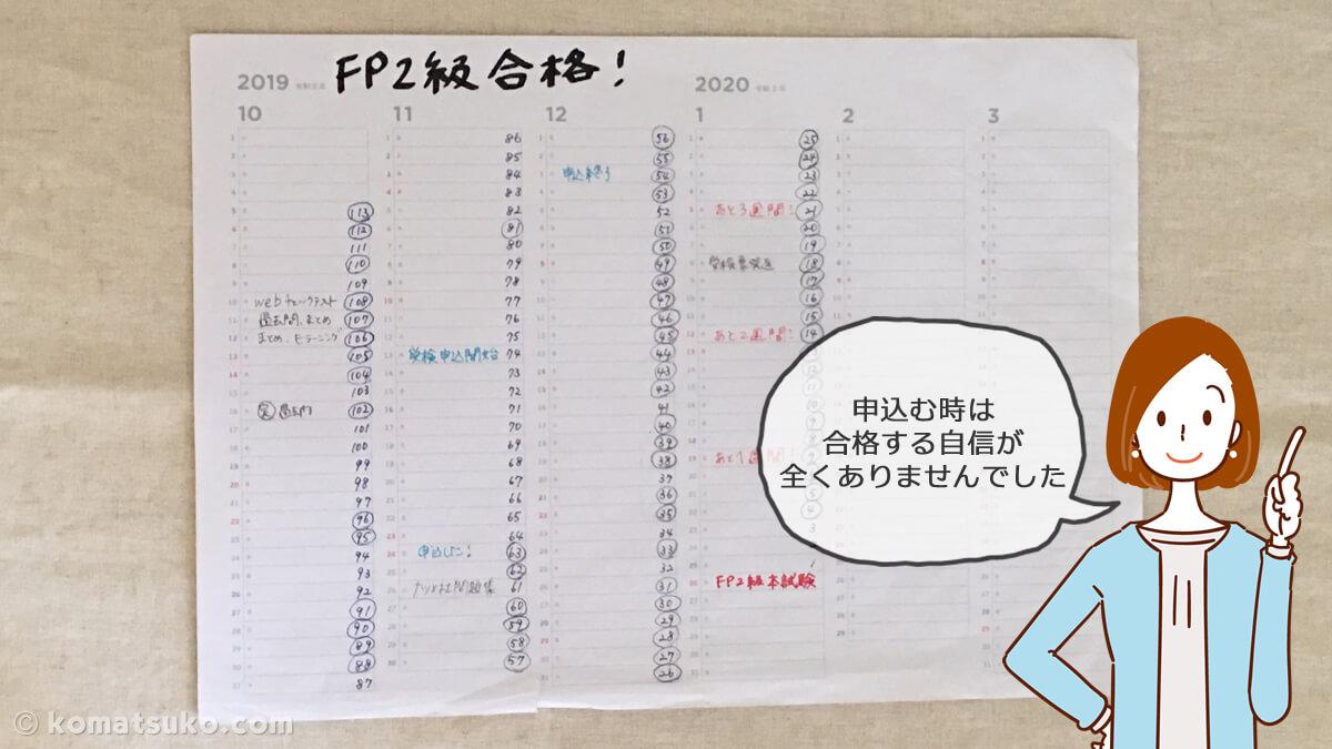FP2級の勉強につかったカレンダー