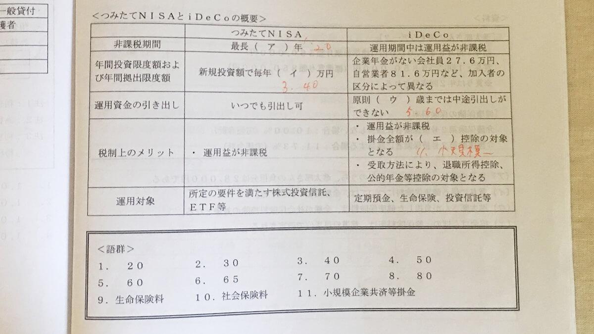 FP2級 実技 日本FP協会の試験問題 2020年1月【問32】